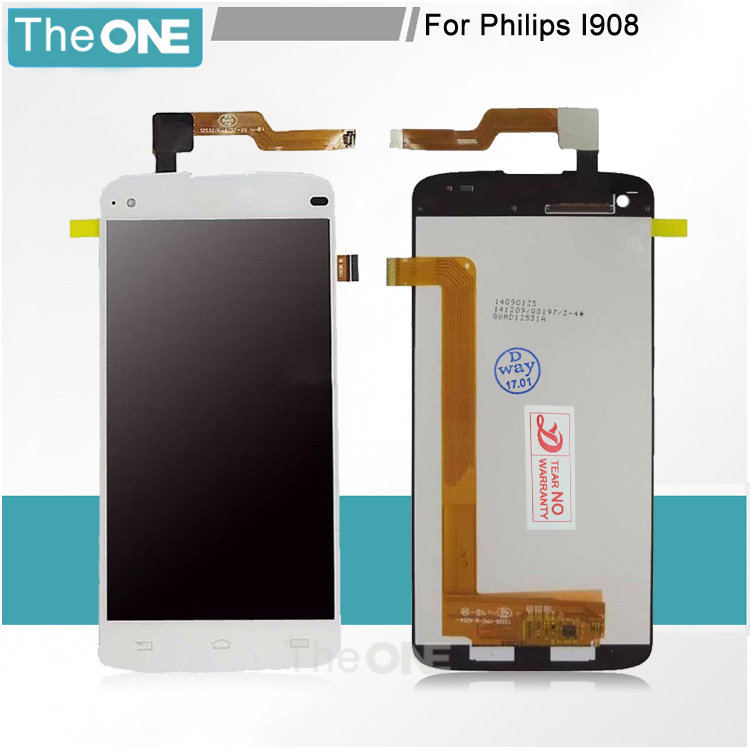 ФОТО New 5inch For Philips I908 Screen LCD Display + Digitizer Touch Screen Glass Panel Replacement Cell Phone Parts Free Shipping