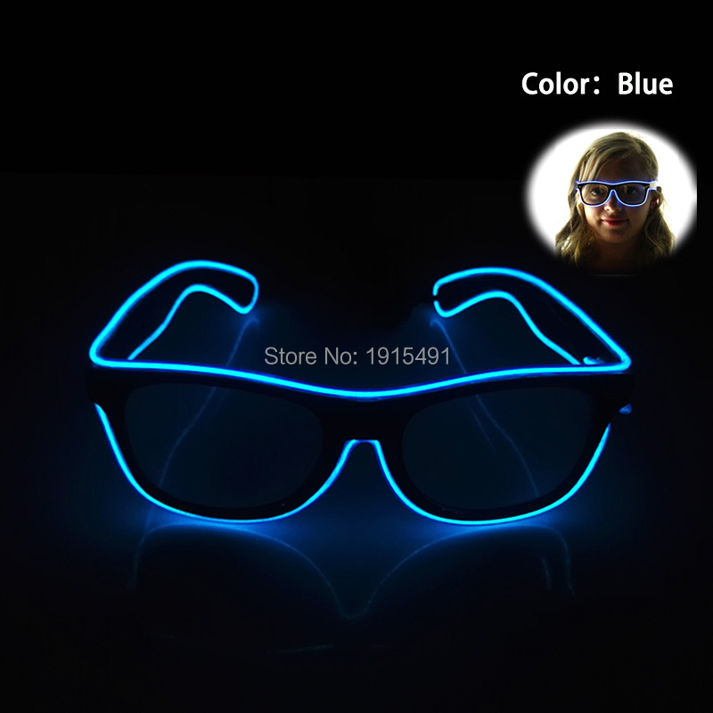 2019 Trendy Attractive Blue Color Sound Control Neon Led Flashing Blinking EL Wire Eyeglasses Novelty Lighting Halloween Decor