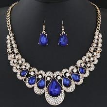 1 set Charm Women's Drop Gold Color Earrings Pendant Choker Dangle Hook Bib Rhinestone Jewelry Set brinco noiva Party