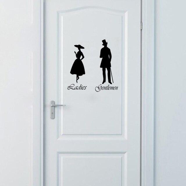 Gentlemen Ladies Toilet Wc Bathroom Door Sign Vinyl Wall Stickers Home Decor Wall Art Decals House Decoration Poster 18cmx22cm Wall Stickers Aliexpress