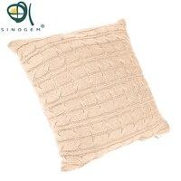 Caso travesseiros Sinogem vintage sólidos malha bege quadrado capa de almofada macia capas de almofada home textile tamanho 45x45 cm