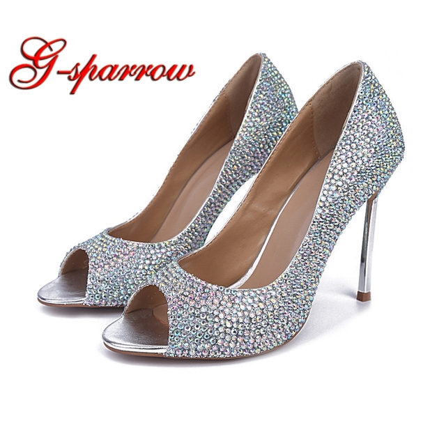 e3c8f26b491ac 2018 Spring Summer Stone Bride Wedding Shoes 4 Inches High Heel Office Lady  Shoes Glitter Bridal Dress Shoes Open Toe Prom Pumps