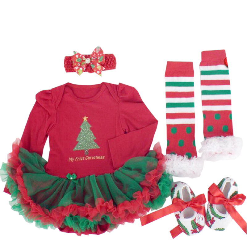 Christmas infant girl rompers Lace Tutu Romper Dress Jumpersuit+Headband+Shoes 4pcs/Set bebe first gift novelty costumes sets baby girl clothing sets christmas set lace tutu romper dress jumpersuit headband shoes 3pcs set bebe first birthday costumes