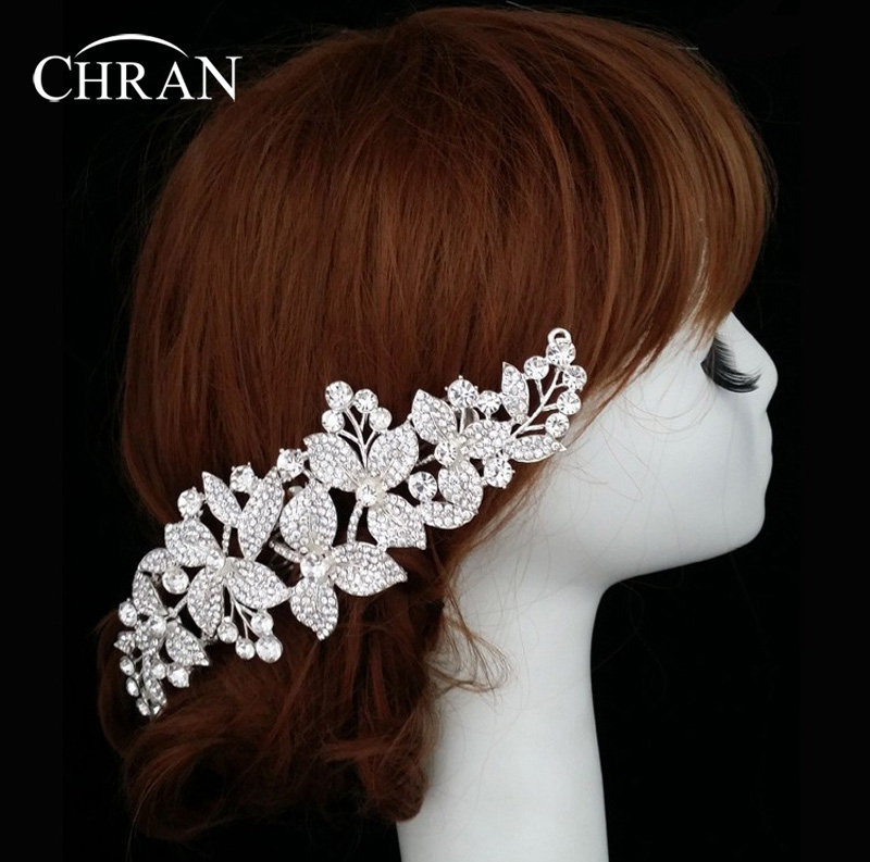 Chran Hot 2017 Tiara Flower Decoration For Hair Rhinestone Bridal Wedding Hair Ornaments Accessories Head Chain Jewelry HCJ219