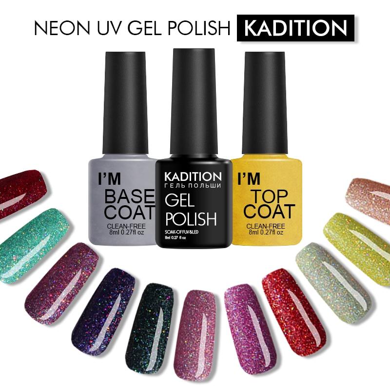 KADITION Shimmer Neon Lucky UV Gel Nail Polish Semi Permanent Nail Gel Polish Soak Off Rainbow Colourful Gel Varnish Art