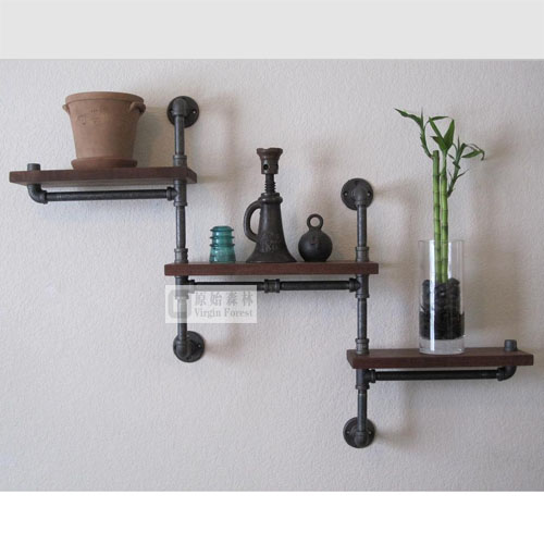 French loft industrial style shelf rack wall hanging shelf iron wood ...