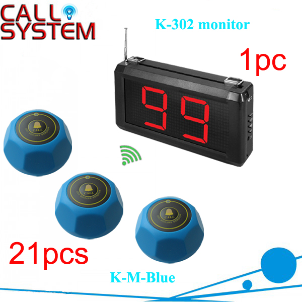 1 set 1 Display Receiver K 302 with 21 bell buzzer Electronic Waiter Button System CE Passed