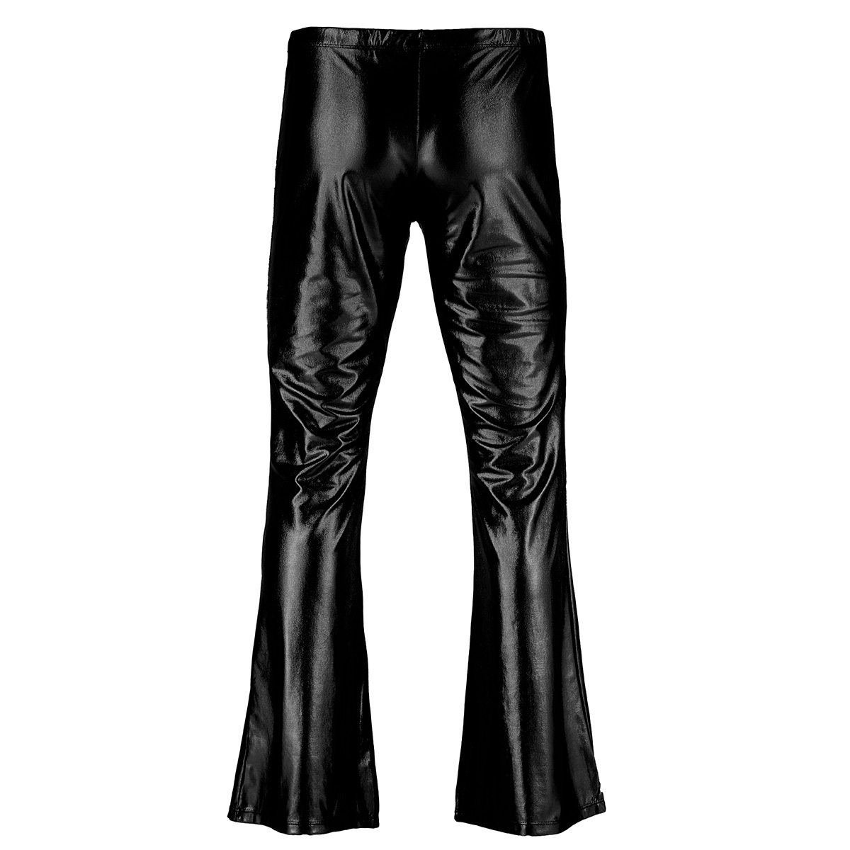 Adult Mens Moto Punk Style Party Pants Shiny Metallic Disco Pants with Bell Bottom Flared Long Pants Dude Costume Trousers 15