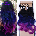 4piece/Lot Black Blue Purple Ombre Hair Extensions 3Bundles With Closure Body Wave Blue Hair Weft Synthetic Hair Extensions