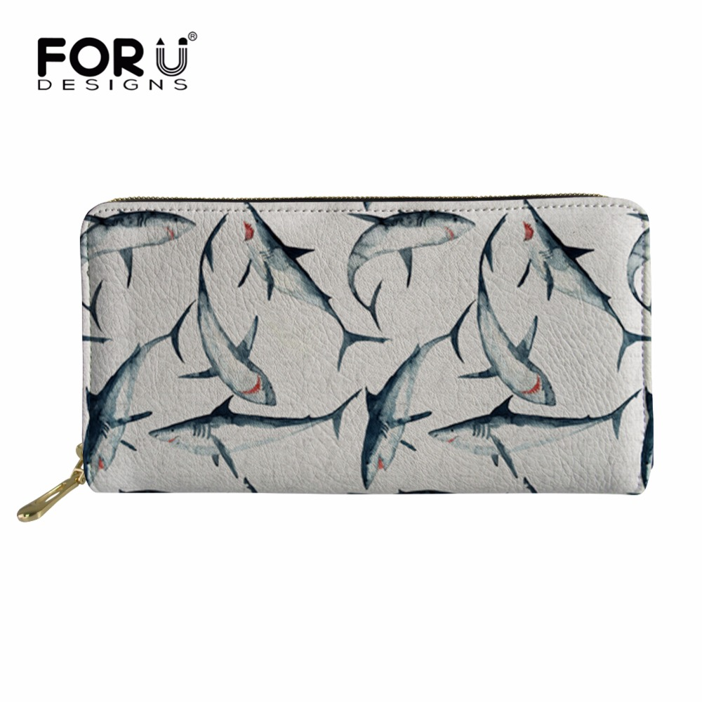 FORUDESIGNS Women Coin Purses Holders Wallet Female Shark Pattern Ladies Small Wallet for Girls Mini Money Bag Purse for Coins