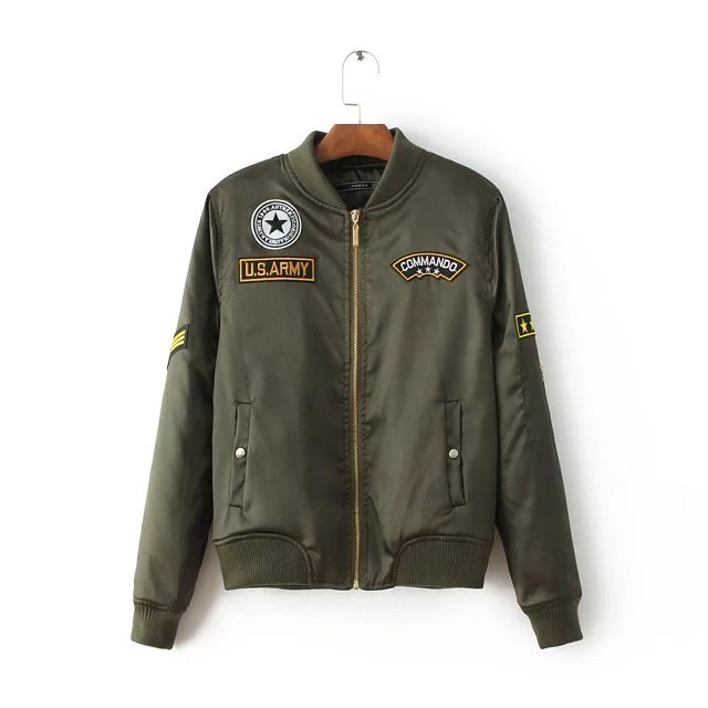 USA Army Green Embroidered Flight Bomber Jacket For Women 89e506d63