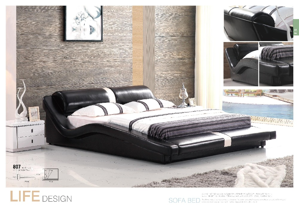 US $895.0 |Beautiful bedroom furniture adult twin size leather wooden bed  for sale-in Beds from Furniture on AliExpress