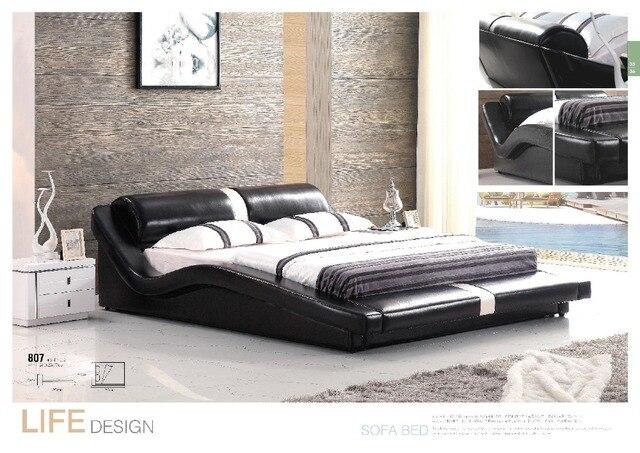Mooie slaapkamer meubels volwassen twin size lederen houten bed voor ...
