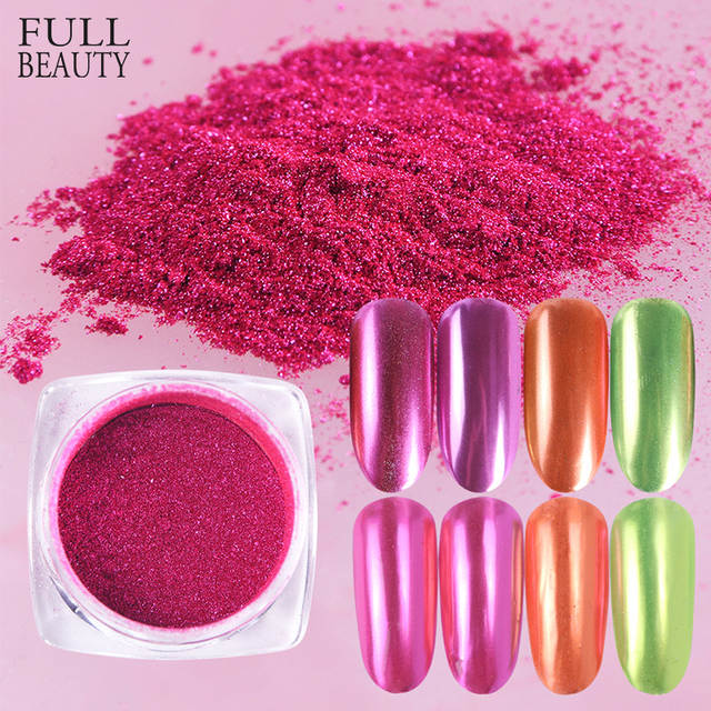 4f377daceab08 Mirror Metallic Chrome Nail Powder Holo Rainbow Rose Silver Holographic  Glitter Sequin Dipping Nail Pigment Decor Manicure CH786