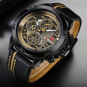 Image 3 - Naviforce homens relógios de couro genuíno esporte relógio de pulso masculino marca superior luxo à prova d24 água 24 horas data relógio de quartzo reloj hombre