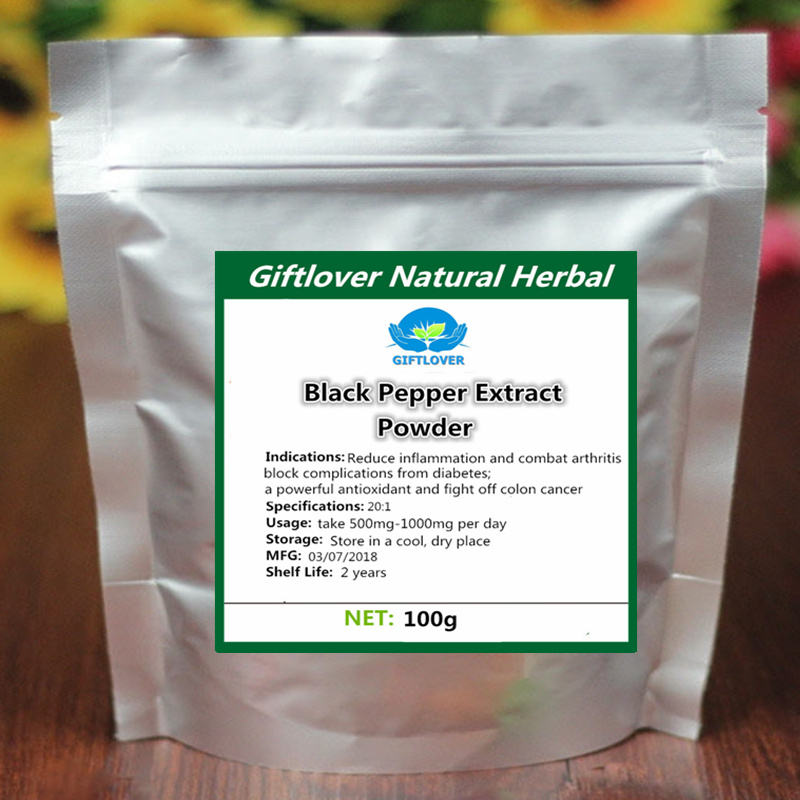 цена на Pure Black Pepper Extract Powder with Piperine reduce pain anti-inflammatory and anti-arthritic Free shipping