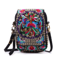 "Tradition Embroider Women National Mobile Phone Bag for 6"" Mobile Yunnan Ethnic Flower Oblique Crossbody Waist Wallet Coin Purse"