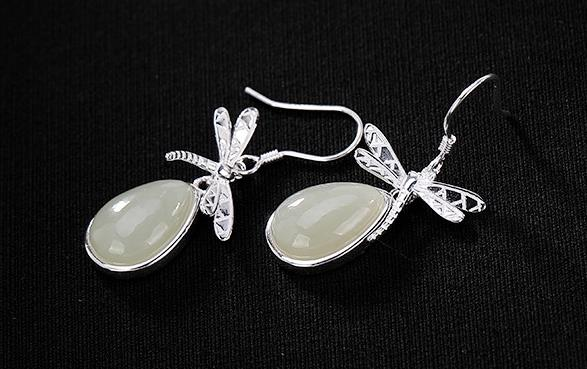 Sterling S925 925 silver Drop Dangle Earring butterfly natural stones vintage trendy for woman 33MMSterling S925 925 silver Drop Dangle Earring butterfly natural stones vintage trendy for woman 33MM