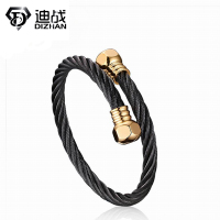 Trendy Luxury Brand Vintage Men Stainless Steel Black Bracelet 18K Gold Plated Cuff Bangle Bracelets For