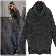 New Autumn Winter Women Top Vestido Plus Size Casual Loose Turtleneck Side Zipper Solid Render Knitted Shirt For Women Large Top