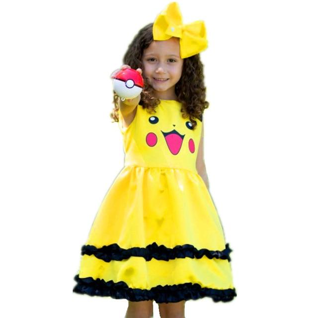9b6d9b45caae9 Filles Pikachu mignon robe de bal enfants belle robe Bowknot à volants  Pokemon Cosplay robes princesse