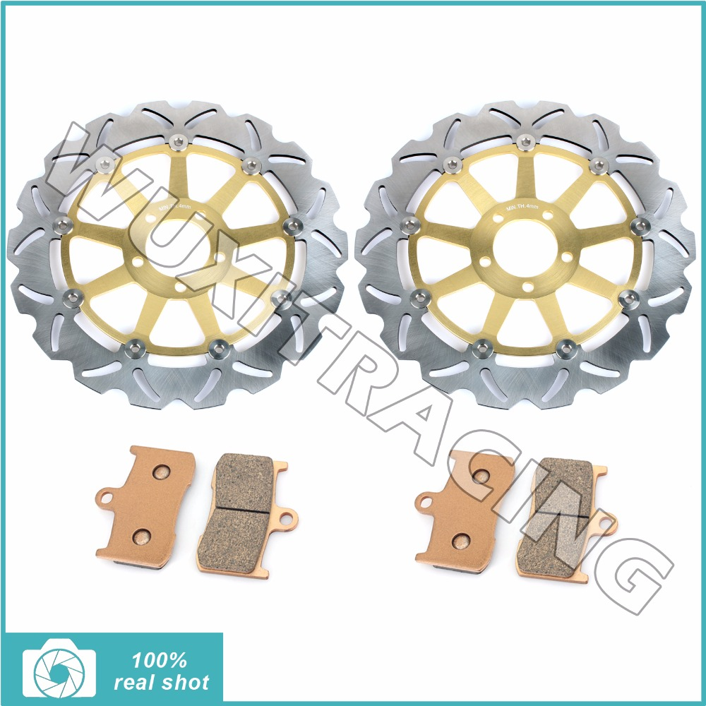 New Motorcycle Front Brake Discs Rotors + Brake Pads for KAWASAKI ZX9R ZX9 R NINJA ZX 900 ZX900 2002 2003 02-03 starpad for lifan motorcycle lf150 10s kpr150 new front brake discs accessories