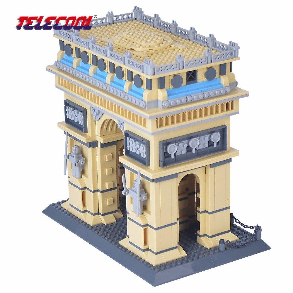TELECOOL 1450 PCS World Building Model Toy Arc De Triomphe In Paris Blocks For Kids For Kids Christmas Gift telecool 536 pcs knight series lion king castle 1010 building blocks brick set toy for kids christmas gift