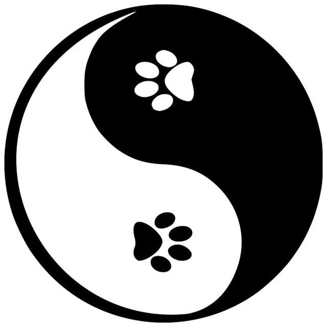 12 7 12 7 cm yin yang pfoten auto aufkleber decals. Black Bedroom Furniture Sets. Home Design Ideas