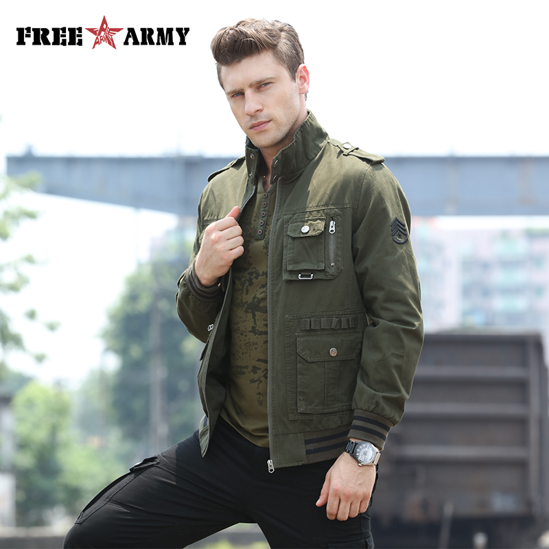 Brand Military Green Jacket Men Autumn Windbreaker Zipper Casual Jacket Bomber Male Coat Pocket Windproof Jacket Coat Ms 6280A
