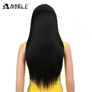Image 4 - Noble Hair synthetic straight wigs 28 Inch Heat Resistant Fiber Hair Blonde Long Wigs For Women Synthetic Lace Front Wig
