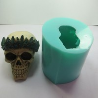 QT0004 Silicone Mold Maple Wreath Skull Silicone Soap Mould 3d Handmade Candle Mold Food Grade Silicone mould High Quality PRZY