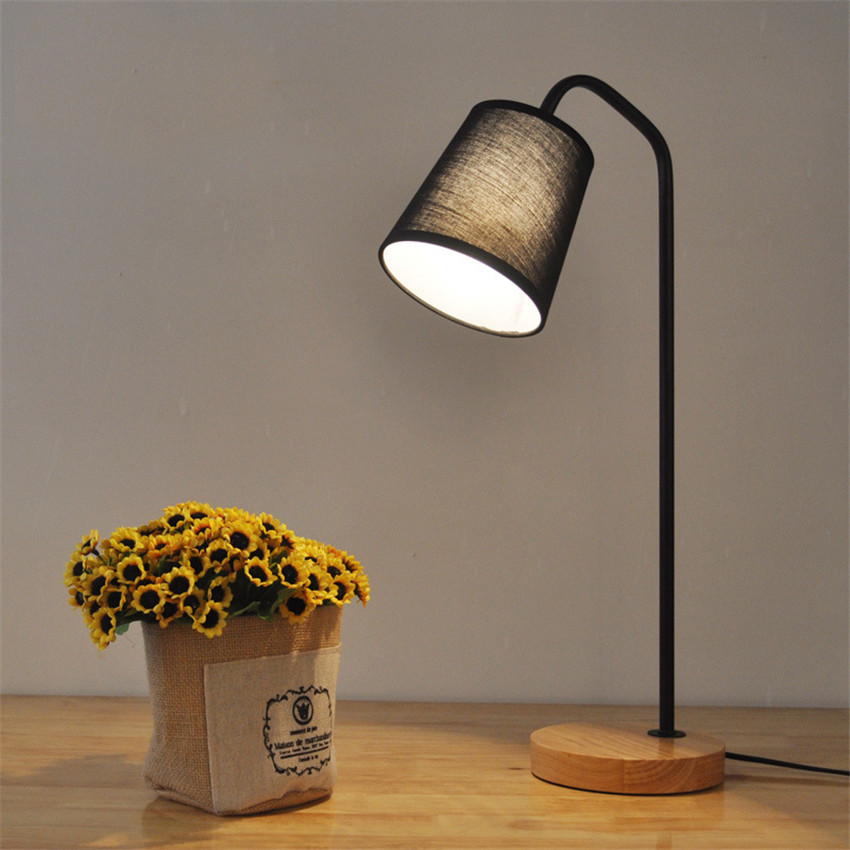 ФОТО Nordic Simple Led Table Lamps,Fashion Wood base bedroom bedside Table Lights study reading Lights with Dimmable/button switch