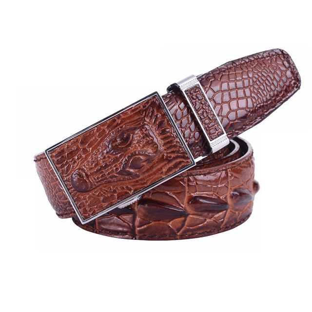 New Men's Genuine Leather Belt Fashion Luxury Alligator Automatic Buckle 100% Cowhide Leather Belts For Men