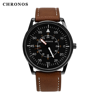CHRONOS Men Watches Fashion High Quality Sewing Side Suede Leather Buckle Strap Numeral Three-layer Dial Quartz Wristwatch CH16 weide men s sport dress watches black dial waterproof quartz analog multiple time zone watches leather strap buckle wristwatch