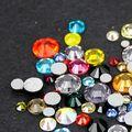 Free shipping Mixed size colors 10Gram/bag 3D Nail Art Decorations Non Hotfix Flat back crystal Glass Rhinestones for nails DIY