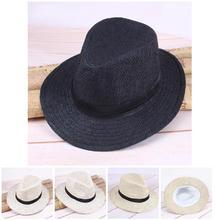 2018 verano Unisex Casual playa sombrero ala grande Jazz sol sombrero panamá  de paja de papel db923744a55b