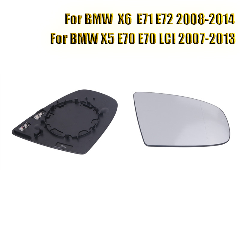 1Pair Side Door Heated Mirrors Glass Wing Angle Mirror Heating For BMW X5 X6 E70 LCI E71 E72 M Sport SUV 2008 - 2014 Car Part // right side housing clear front fog light lamp cover for bmw x6 e71 e72 oem 63177187630 car styling