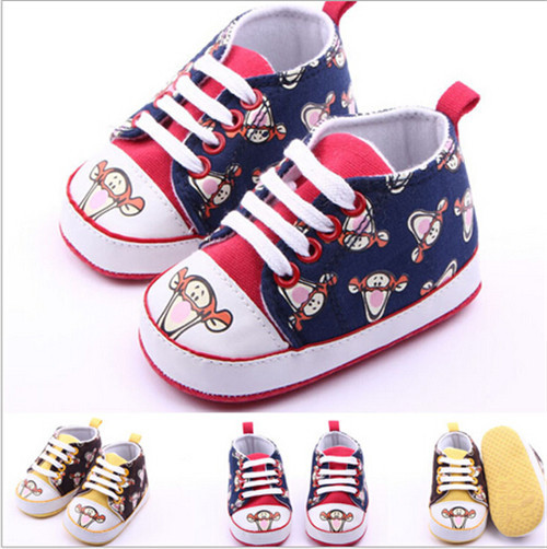 2015 New Lovely Cartoon Baby New Born Prewalker Shoes Sapato Baby Girl Boys First Walker Antislip Baby Sport Shoes