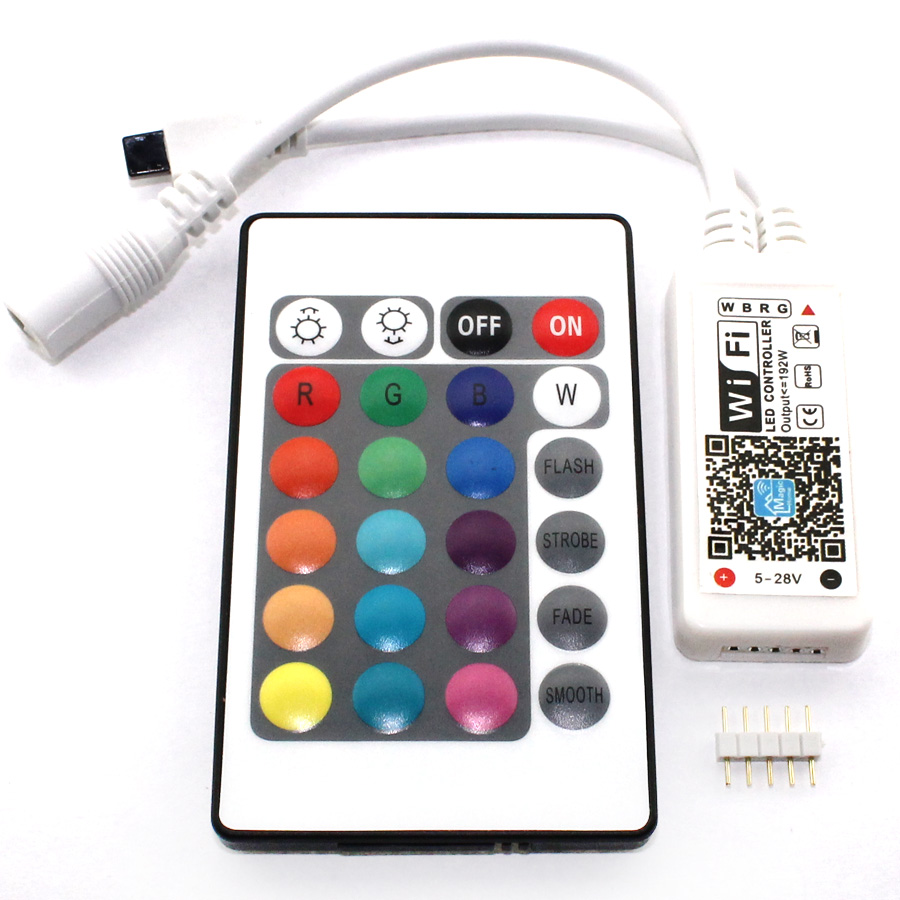 WiFi LED RGB Controller Mini 24Keys IR RGB RGBW Mini Controller DC 5V 12V 24V WiFi Wireless Remote 5 V 12 V 24 V Volt LED stripWiFi LED RGB Controller Mini 24Keys IR RGB RGBW Mini Controller DC 5V 12V 24V WiFi Wireless Remote 5 V 12 V 24 V Volt LED strip