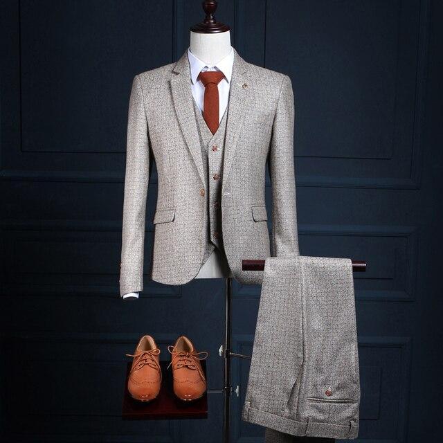 Personalizado Trajes de Marca (Jacket + Pants + Vest) moda Casual Hombres Traje Blazers Gris Plaid Estilo Slim Fit Boda Smoking Del Novio de Baile Masculino