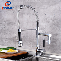 SOGNARE Chrome Pull Out Spring Kitchen Faucet Swivel Spout Vessel Sink Mixer Tap Pull Down Deck