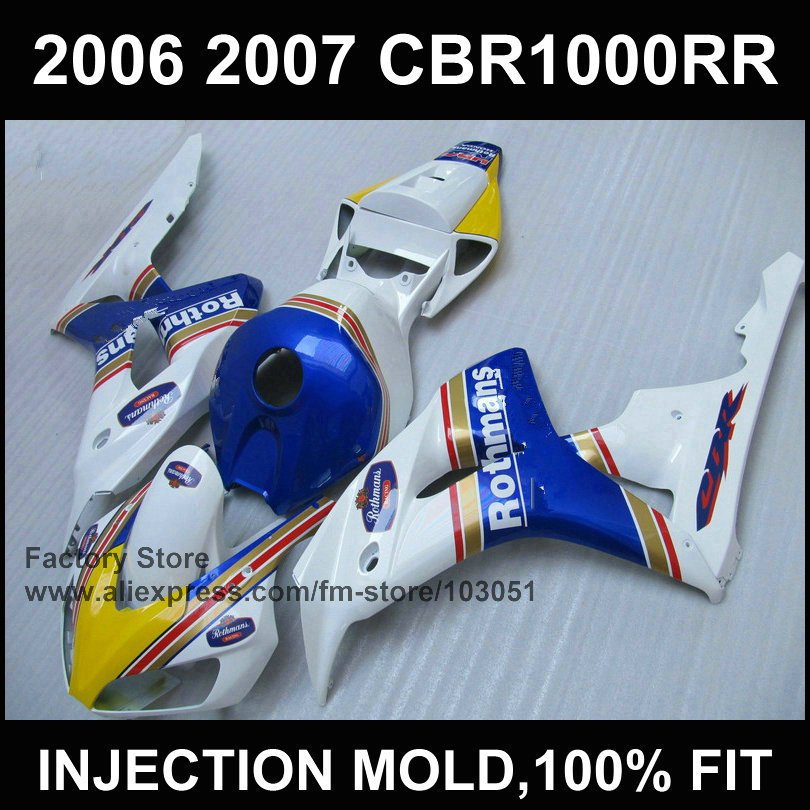 Custom road injection Motorcycle Fairings set for HONDA 06 07 CBR 1000RR 2006 2007 CBR 1000 RR Rothmans body repair fairing kits