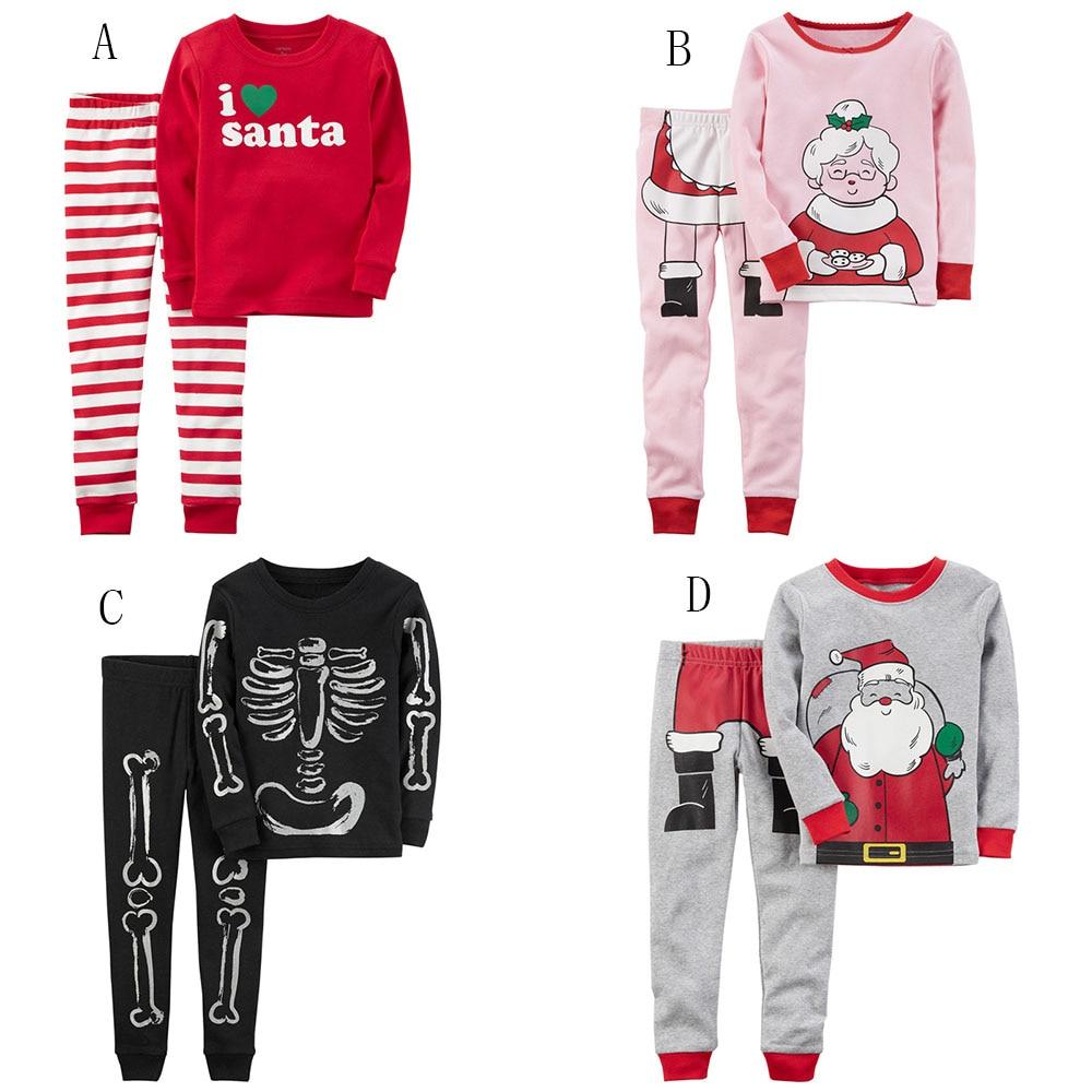 Children Christmas stripe outfits Cartoon printing top+pants 2pcs/set baby kids Halloween Skeleton Santa Claus pajamas suit X08 halloween girl skeleton rib bone top dark green zebra pettiskirt set 1 8year mg1246
