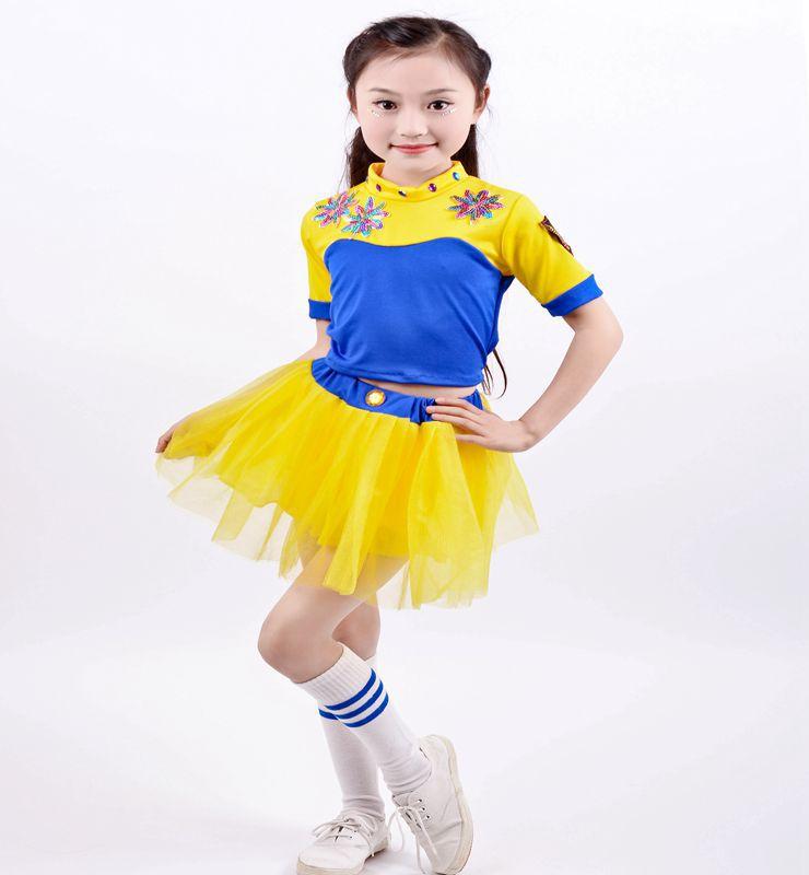 Fantasy Cheerleader Costumes Kids Uniform Fantasias Adult Girls Cheers Team Yellow Sport Costume Sexy High School Girls Cheerlea