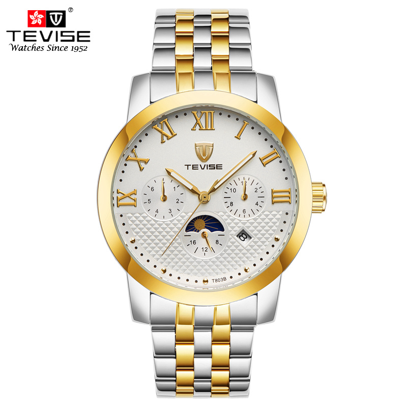 TEVISE Automatic Self-Wind Watch Men Moon Phase Auto Mechanical Watches Stainles Steel Complete Calendar Date Week T803B tevise men automatic self wind gola stainless steel watches luxury 12 symbolic animals dial mechanical date wristwatches9055g