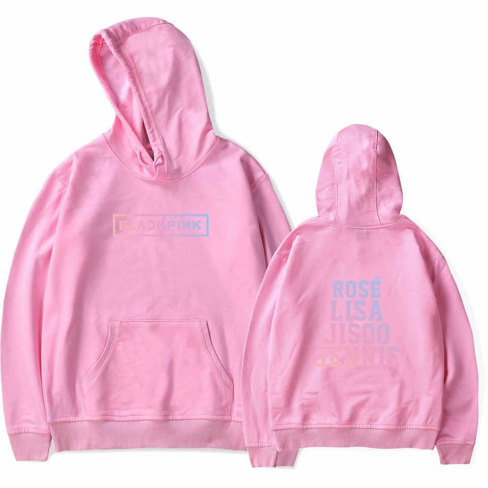 LUCKYFRIDAYF 2018 Sudadera con capucha negra rosa para hombres y mujeres Rosa Negra Rosa LISA JISOO JENNIE Casual Hip Hop streetwear