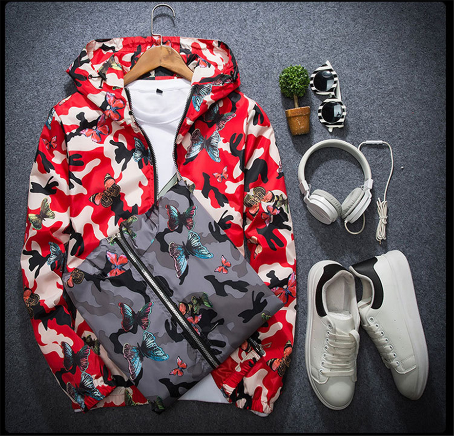 HTB15NdrKuuSBuNjy1Xcq6AYjFXa6 Mens Casual Camouflage Hoodie Jacket 2018 New Autumn Butterfly Print Clothes Men's Hooded Windbreaker Coat Male Outwear WS505