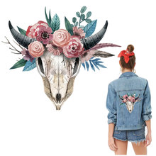 colorful flower bull bone iron stickers for jacket fashion west coast adhesive transfer patch film cool cow head badges hoodies