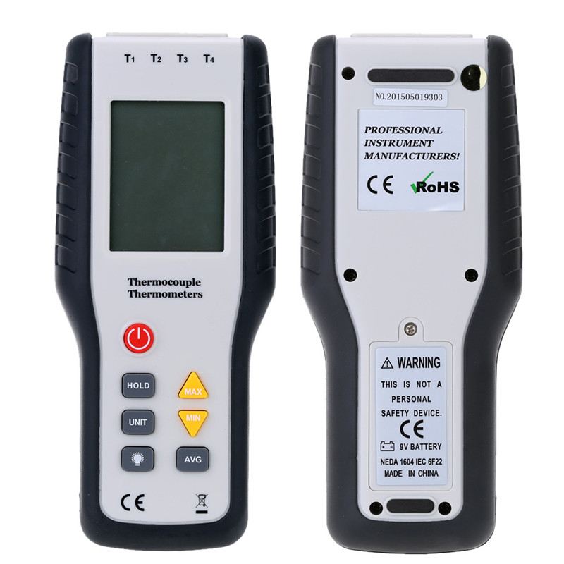 1pc Handheld Digital 4 Channel Thermometer Temperature Meter K Type Thermocouple Sensor
