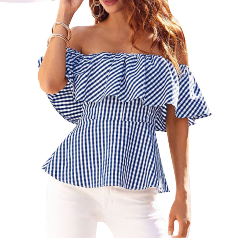 545329869fc Off Shoulder Blouse Femme Women Summer Tops 2018 Ruffle Ladies Striped  Chiffon Shirts Slash Neck Sexy
